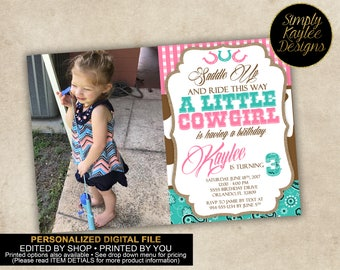 Cowgirl Birthday Party Invitation