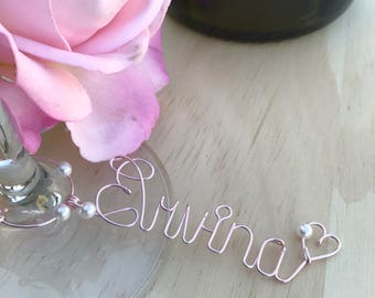 Personalized Bridesmaid Gift Idea - Personalized Wine Charms - Girls Night Ladies Night Bachelorette Party  - Name Wine Charms - Under 20
