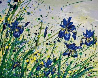 Large (300 mm x 400 mm) Giclee fine art print of original acrylic painting of Iris.