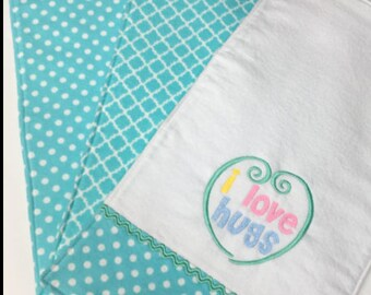 Three Turquoise Baby Burp Cloths