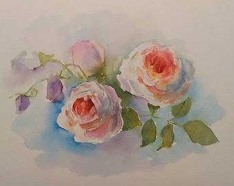 Roses. Original watercolor picture