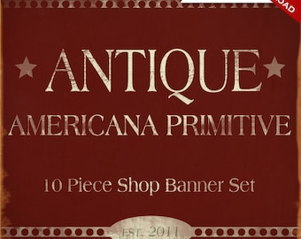 Custom Etsy Banner and Avatar Design Set - 11 Piece Red Americana Minimalist Primitive DIY Template - amr - Antique Classical