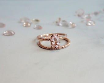 solid 14K Rose Gold Morganite Ring, 7x5 mm Pink Morganite Oval Cut/ Fleur de lis Setting/Engagement Ring Vintage/Rustic Inspired Ring