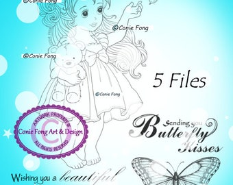 SALE-Digital Stamp, Digi Stamp, digistamp, Conie Fong, girl, sentiment, princess,butterfly, teddy bear, birthday, coloring page