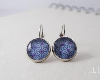 Boucles d'oreilles bleu motif étoilé marron