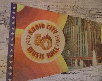 Vintage Felt Souvenir Pennant - Radio City Music Hall - NYC