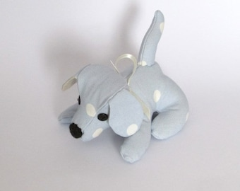 Doggy Desk Buddy, Blue Dotty Fabric, Paperweight, Office, Dog, Animal, Quirky, Handmade, Fabric, Desk mate