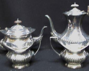 Cheltenham Coffee and Tea Pot Creamer Sugar Set Silver Plate Sheffield England