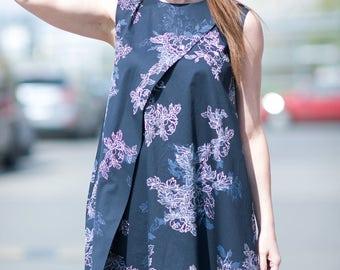 Sleeveless Dress, Blue Dress, Flower Maxi Dress, Plus Size Loose Dress, Women Summer Dress, Evening Dress, Parti Maxi Dresses - DR0196CT