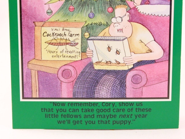 Vintage 1988 gary larson far side greeting card and envelope vintage 1988 gary larson far side greeting card and envelope cockroach farm merry christmas bookmarktalkfo Images