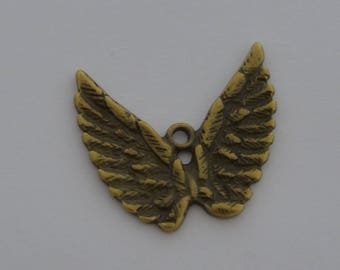 2 pair 27x28mm antique bronze wing charms