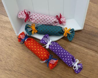 4 Lavender Scented candies, colorful, dotted, handmade, scented bag, lavender bag