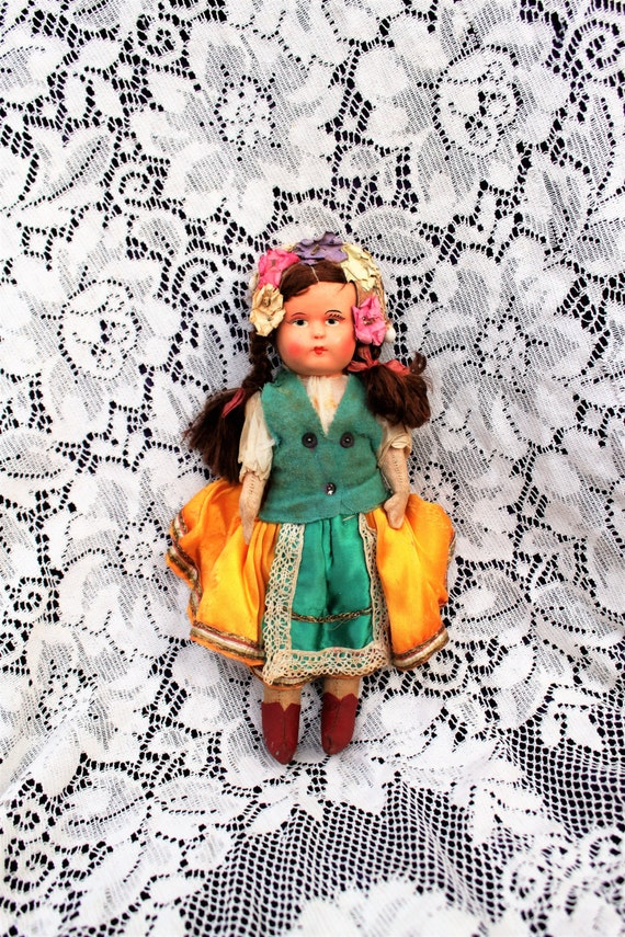 1930's Doll Made in Hungary/Vintage Hungarian Doll/Vintage collectible Doll/European Doll/Authentic Hungarian Cloth Doll/Made in Hungary