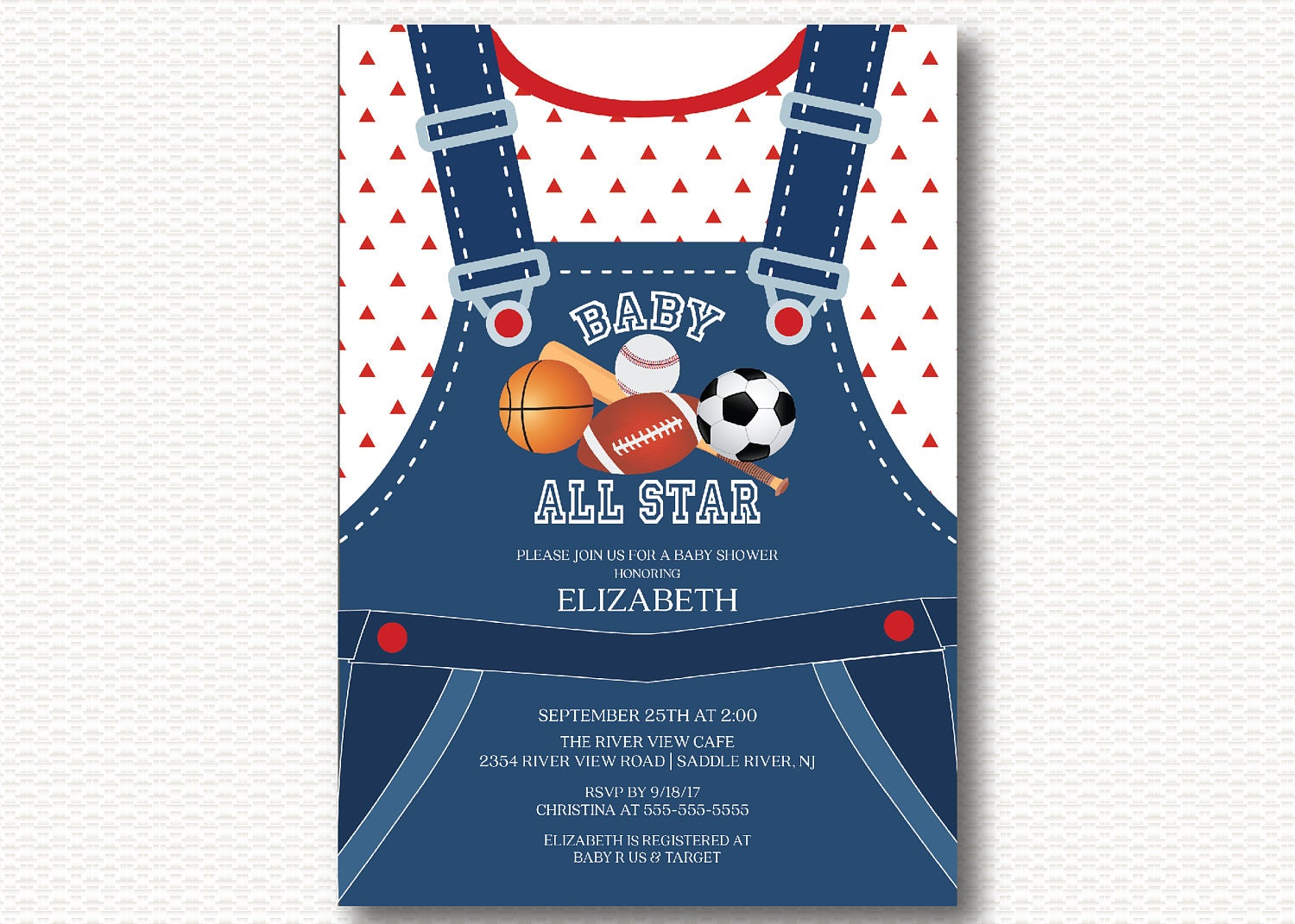 It\'s a Boy All Star Baby Shower Invitation overalls
