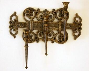 Wall Candle Holder, Three Light Sconce, Vintage Spanish Revival, Homco Dart Industries, Gold Black Plastic, Mediterranean Decor