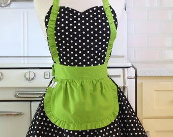 Apron French Maid Polka Dot with Lime Green Double Circle Skirt