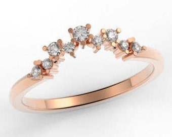 14k Gold Ring, Rose Gold Wedding Band, Simple Wedding Ring, ROSE Gold tiny Ring. Diamond Stacking Ring 14K gold, Promise Ring, Stackable