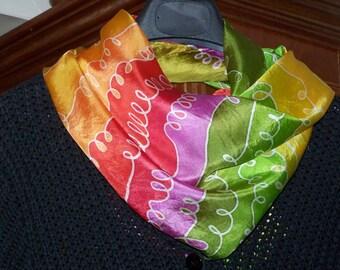 "Square Silkscarf ""Schlingen"", silk, scarf, handpainted, silkpainting, unique, ooak, wearable art, accessoire for women, birthday present"