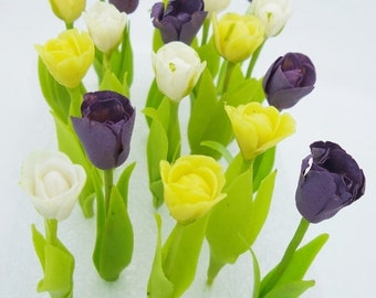 Miniature Polymer Clay Flowers Supplies Handmade Tulip with Leaves, 16 stems