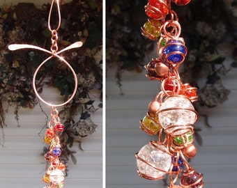 Wind Chimes Glass Copper Garden Art Rainbow Suncatcher Yard/Lawn/Outdoor Decor