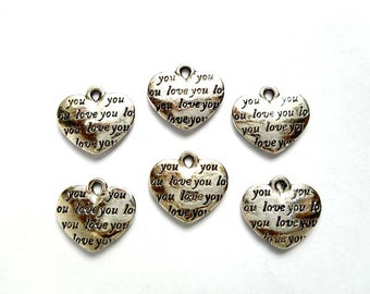 "6 Antique Silver ""Love You"" Heart Charms - 21-44-14"