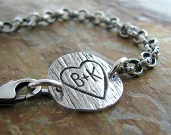 Personalized PMC Fine Silver Artisan Bracelet, Woodgrain Texture, Handcarved with Heart and Initials by SilverWishes