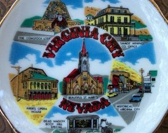 Vintage Souvenir Virginia City Nevada Collectible Porcelain Plate