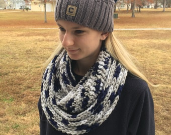 White, Gray, and Navy Scarf / Handmade Infinity Scarf / Crochet Scarf / Circle Scarf / Scarves