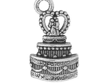 5 Pieces Antique Silver Wedding Cake Charms