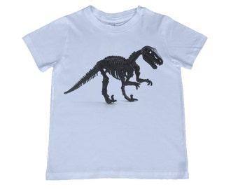 Child Dinosaur Skeleton Tshirt - other colors personalization available, youth sizes xs, s, m, l