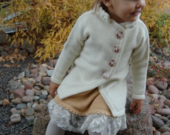 Knitted spring coat for kid, long cardigan for little girl, wool sweater with buttons