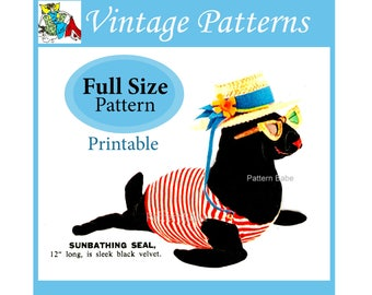 "Sunbathing Seal Sewing Pattern Full Size patterns 12"" stuffed toy animal pattern softie sea creature printable PDF JB120"