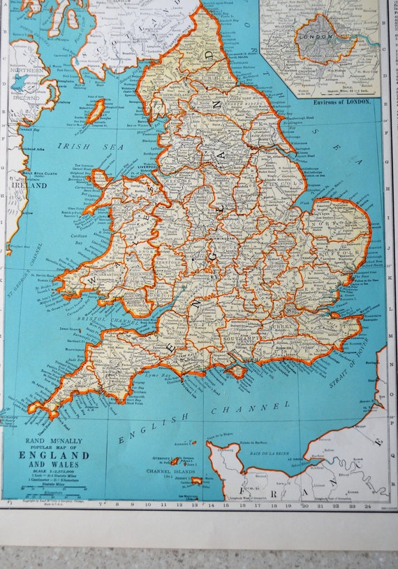 Vintage england map antique 1941 atlas map scotland on reverse like this item gumiabroncs Image collections