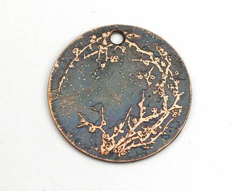 Handmade cherry blossom charm, round flat etched copper Asian style focal point, 25mm