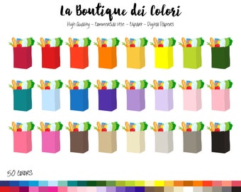 50 Rainbow Grocery Bag Clip art, Colorful Digital illustrations PNG, shopping bags Clipart, chores graphics, Planner Stickers Commercial Use