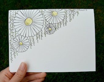 Hand Drawn Card (Handmade), Daisy Card, Flower Card, Daisy Stationery, Flower Stationery