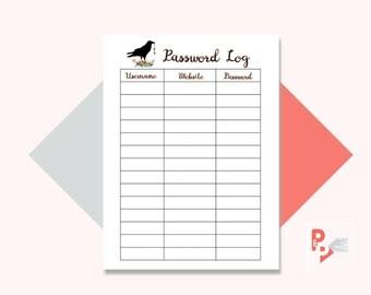 PASSWORD LOG Happy Planner Printable Insert, Create 365, Happy Planner Inserts, Happy Planner Classic, MAMBI Planner, Instant Download