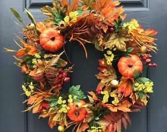 Fall Wreaths, Fall Pumpkin Wreath, Fall Door Wreaths, Front Door Wreaths, Pumpkin Decor, Thanksgiving Wreath, Front Door Wreaths for Fall