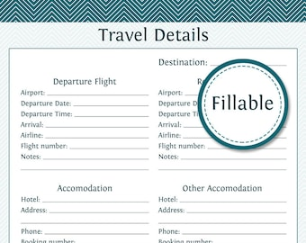 Travel Planner: Travel Details - Fillable - Instant Download - Printable PDF  - Vacation Planner