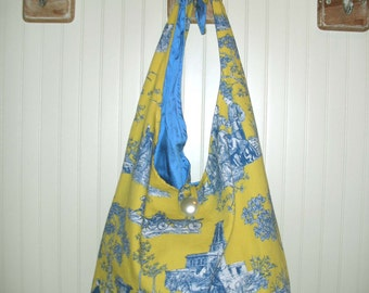 Yellow and blue Toile Print Tote Bag with Shoulder strap
