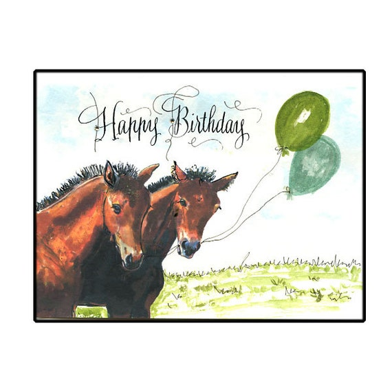 Horse birthday card two foals birthday horse card watercolor bookmarktalkfo Image collections