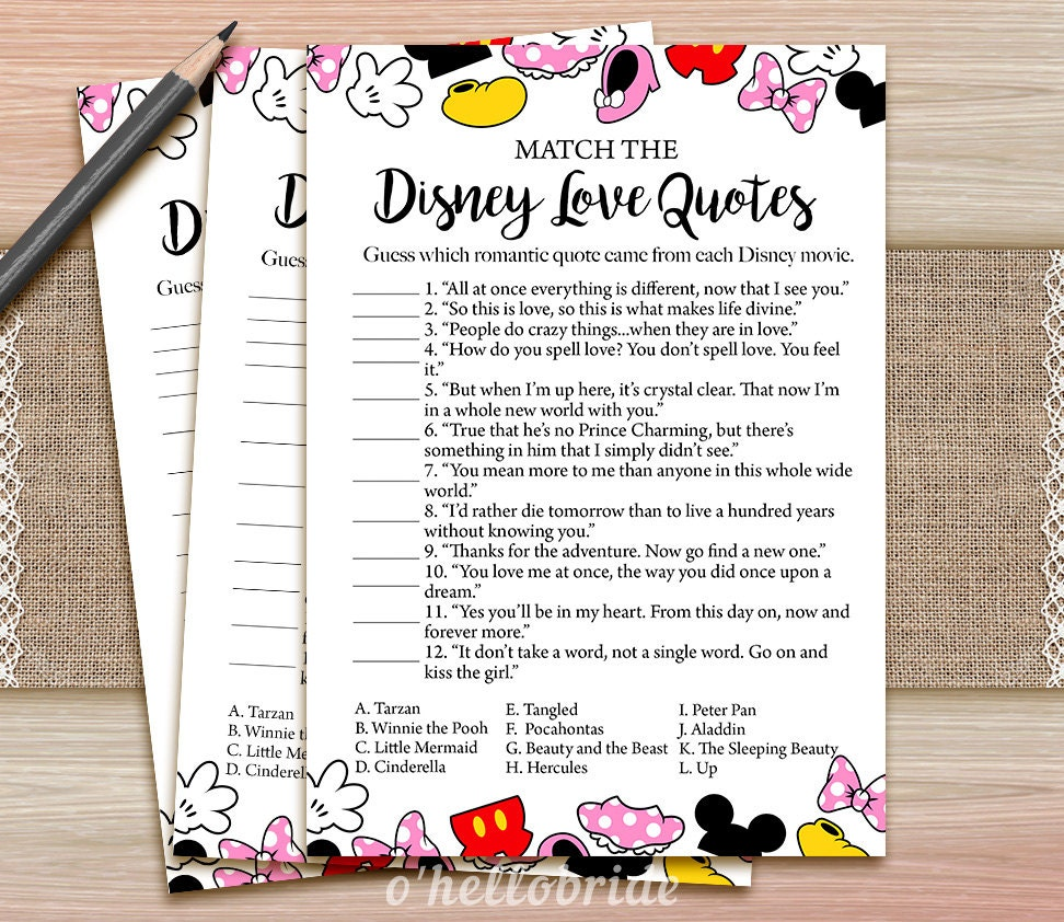 Game Of Love Quotes: Disney Love Quotes Match Game Printable Disney Bridal Shower
