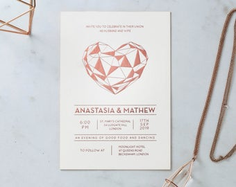 Modern Heart Wedding Stationery, Foil Stamping & White - IWF16118-GW-RG