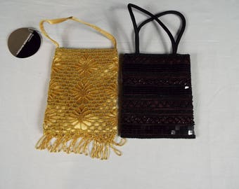 Gold and Black and Purple Beaded Purses