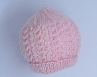 Pink baby beanie-Premmie baby beanie- Tiny baby beanie-Premmie  baby  hat-Knitted baby beanie