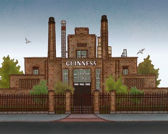 Guinness Brewery, Dublin, Ireland - Illustration print