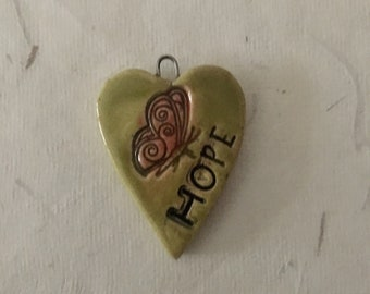 Green Hope heart with butterfly odd419