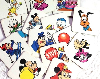 Mickey Mouse Cards Game 14 Pieces - Vintage - for Collage Scrapbooking Altered Art  Crafting From the Disney 1991 Memory Game - Made in USA