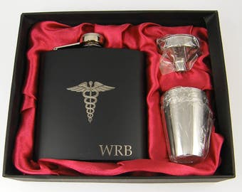 Personalized Medical Caduceus Flask Set, Custom Engraved MD Hip Flask, Medical Symbol Gift, Medical School Gift Graduation Custom Hip Flask