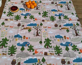 Picnic blanket pink blue forest animals nature Modern EXTRA LARGE blanket and Bag Beach blanket Summer Picnic blanket Outside blanket GIFT